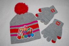 Girls Shopkins Gray Winter Hat Lipstick Popcorn Fur Pom Pom Tech Touch Gloves