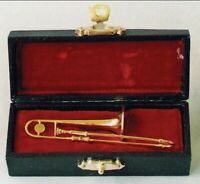 Dolls House Miniature 1/12th Scale Trombone in a Case 9/157