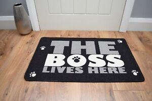 Dog Novelty Door Mat Rug Small Black Grey Washable Non Slip Indoor Entrance