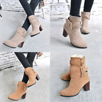 Fashion Women's Buckle Winter Thick Platform High Heel Zipper Ankle Boots NEW~