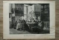 Kunst Holzschnitt 1900 Otto Kirberg - Theekränzchen Tee Frauen Küche  28x40cm