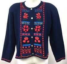 Vtg Tally Ho Creations Womens Sweater Cardigan Blue Red Floral Embroidered S M