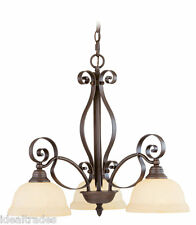 LIVEX 6153 INDOOR VINTAGE GLASS CHANDELIER LIGHTING FIXTURE CHAIN HUNG LIGHT