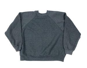 VTG 90s Tultex Gray Sweatshirt Solid Blank 50/50 USA Made Raglan Sleeve L