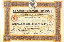 PARIS LE CONTREPLAQUE FRANCAIS ETS VOULTON SCRIPOPHILIE ACTION 1929