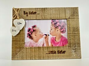 Big Sister Little Brother   New Baby Personalised Photo Frame   Driftwood Style