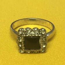 Zircons Silver Ring Sz6.5 No Reserve Antique Genuine Art Deco Black Onyx