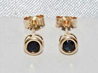 Beautiful 9ct Yellow Gold Blue Sapphire Single Stone Stud Earrings -