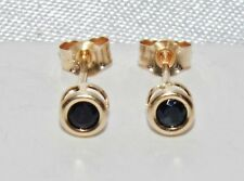 9ct Gold Blue Sapphire Ladies Stud Earrings - Solid 9K Gold ~ 375
