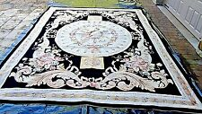 ANTIQUE 19c HANDMADE  NEEDLEPOINT TAPESTRY AUBUSSON CARPET RUG BEAUTIFRUL COLOR