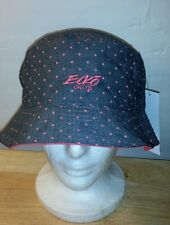 NWT ECKO UNLTD GRAY AND PINK POLKA DOT REVERSIBLE BUCKET HAT ONE SIZE