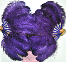 "A pair of Dark purple single layer Ostrich Feather Fans 24""x 41"" Burlesque & box"