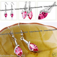 ROSE PINK CRYSTAL NECKLACE & EARRINGS SILVER LOVE XMAS GIFT FOR HER WIFE WOMEN