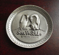 "Vintage 1985 Fort Pewter Small Sea World Decorative Plate 1 3/4"" Wide"