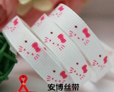 2 meter 3/8 9mm white hello kitty birthday  printed grosgrain ribbon hairbow whi