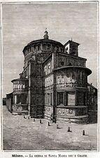 MILANO: Corso Magenta: Basilica di Santa Maria delle Grazie.+ Passepartout.1891