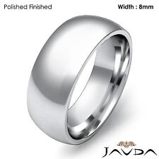 Comfort Men Wedding Band High Polish Dome Plain Ring 8mm Platinum 20.4g 11-11.75