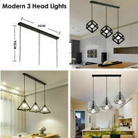 VINTAGE INDUSTRIAL PENDANT LIGHT CEILING LOFT CAFE LAMP CLOCHE METAL 3HEAD SHADE
