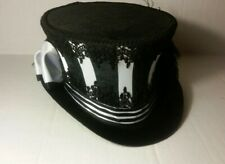 Top Hat Victorian Steampunk Gothic Black White Satin Stripe rider style