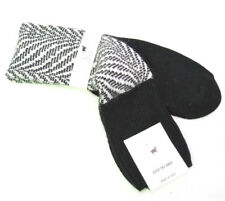 Urania Italy Ladies Over Knee Socks Angora Blend Zebra Black Winter White - New