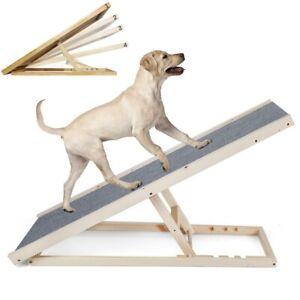 100cm Dog Ramp Pet Puppy Adjustable Height Non Slip Carpet Surface Access Stair