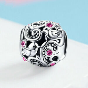 New European Silver Cz Charm Crystal Beads Fit Necklace Bracelet Chain Diy J089