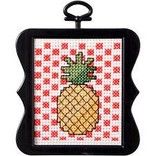 Cross Stitch Mini Kit ~ Plaid-Bucilla Pineapple w/Frame #46411