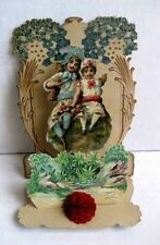 Vintage Valentines Day Card Couple Sitting in Garden Loving Greeting