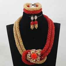 New Design Red Gold Bridal Beads Jewellery Wedding African Beads Set