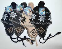 Unisex Beanie Hat Knit Ski Snow Earflap Pattern Cap Warm Trapper Winter Mens