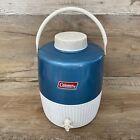 1976 Coleman 2 Gallon Blue White Water Jug & Cup Cooler Metal Plastic Vintage