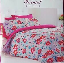 NEW PINK GREY TEAL ORIENTAL FLORAL BIRD FLOWER DOUBLE BED DUVET SET QUILT COVER