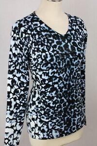 Damen Pullover Pulli Oberteil blau Leoprint Blumen Glitzer Viskose OVANTI Gr.40
