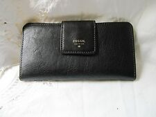 #BEAUTIFUL FOSSIL BLACK TRIM WALLET clutch bag womens