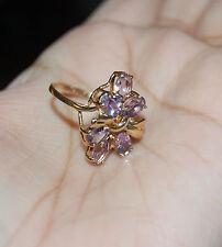 10K Yellow Gold Ring Amethyst Gemstones Bow Flower Cocktail 2.7 Grams