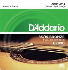 D'Addario EZ890 Box of 10 85/15 Bronze Super Light 9-45 Acoustic Guitar Strings