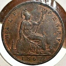 GREAT BRITAIN 1862 HALF PENNY  DING ON REVERSE AS PICTURED