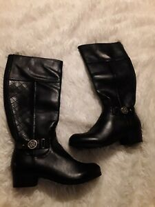 Liz Claiborne Trino Black Knee High Riding Boots Women's US  7.5W  Faux Leather