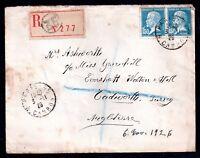France 1923 Registered Postal History Cover to UK WS6900