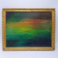 Impressionist Sunset Sky Ocean Oil Painting G.C. 1966 Antique Frame