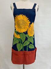 Liz Lauter Designs Bib Apron Sunflowers Flower Pot Pockets Blue Denim