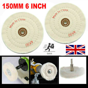 150MM 6 Inch Spiral Stitched Cotton Buffing Polishing Wheel Mop Bench Grinder