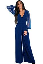 Embellished Cuffs Long Mesh Sleeves Jumpsuit Dress Blue Medium