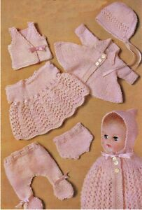 """Knitting Pattern Vintage Dolls Clothes 10/12"""" 3 ply Layette"""
