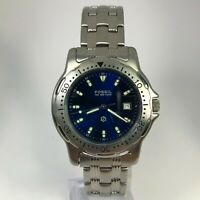 Fossil Mens FS2502 Blue Dial Silver Stainless Steel Date Indicator Analog Watch