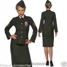 CL199 Womens Wartime Officer Army Military Uniform Fancy Dress Costume Outfit