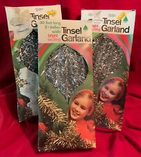 Tinsel Garland,3 Boxes,Doubl Glo,Vintage,1968,Silver,C hristmas,Garland,3 Strands