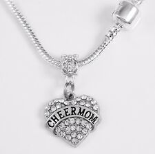 Cheer mom jewelry cheering mom Necklace Cheerleader cheering chain crystal heart