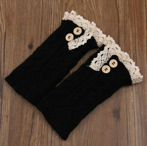 Leg Warmer Winter Boot Socks Lace Button Designed Knitted Elastic Foot Accessory