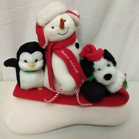 Hallmark Sleigh Ride Jingle Pals Animated Singing Dancing Snowman Dog Penguin